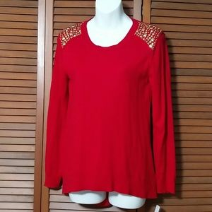 Michael studded red Lightweight knit top